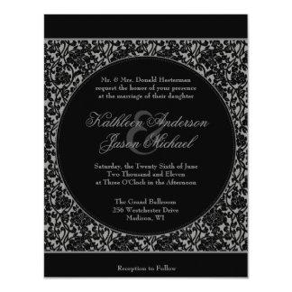 Gothic Floral Damask Monogram Wedding Invitation