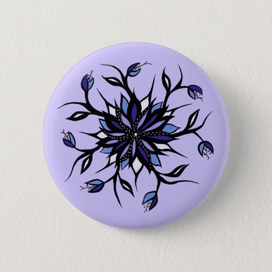 Gothic Floral Mandala Monsters And Teeth Button