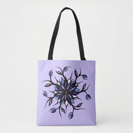 Gothic Floral Mandala Monsters And Teeth Tote Bag