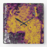 Gothic Floral Purple and Yellow Wall Clock