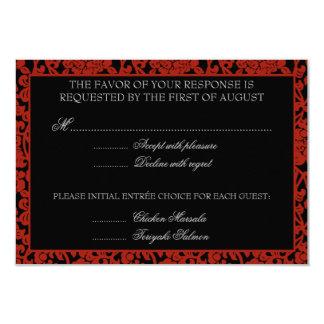 Gothic Floral Red & Black Damask RSVP Monogram Card