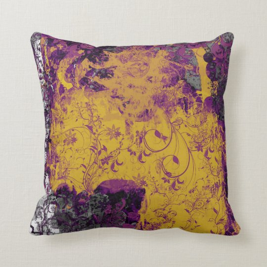 Gothic Floral Style Yellow And Purple Cushion Zazzle Com