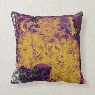 Gothic floral style yellow and purple cushion