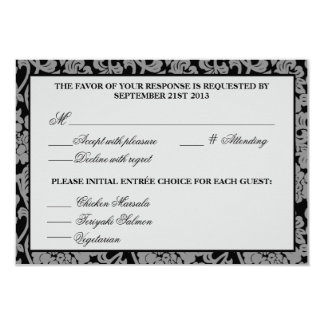 Gothic Flourish Grey & Black Response Card