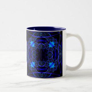 Gothic Fractals Prussian Blue mug