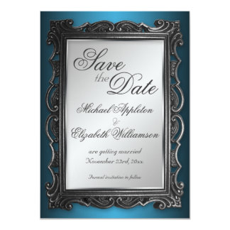 Gothic Frame Gray Blue Save the Date Announcements