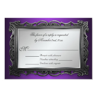 Gothic Frame Purple RSVP Reply Cards Personalized Invitation