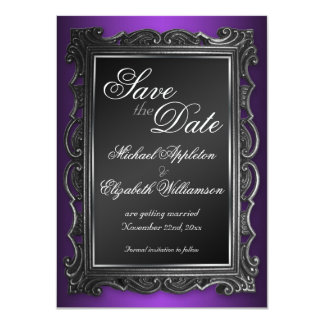 Gothic Frame Purple Save the Date Announcements