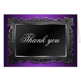 Gothic Frame Purple Thank You Cards