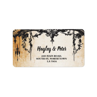 Gothic Frame Rustic Address Label Stickers Wedding