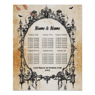 Gothic Frame Table Plan Wedding Poster Seating
