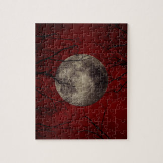 Gothic Full Moon with Haunting Trees Jigsaw Puzzle