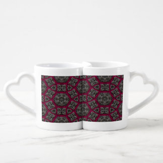 Gothic Fuschia Black White Veiny Mosaic Coffee Mug Set
