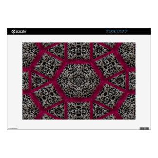 """Gothic Fuschia Black White Veiny Mosaic Decal For 15"""" Laptop"""