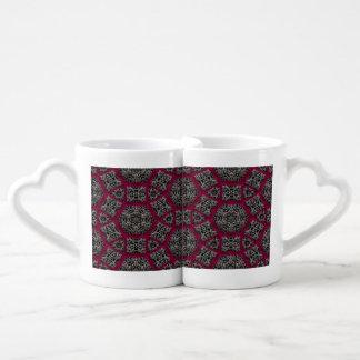 Gothic Fuschia Black White Veiny Mosaic Lovers Mug Set