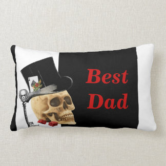 Gothic gambler skull best dad lumbar pillow