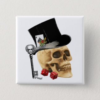 Gothic gambler skull tattoo design button