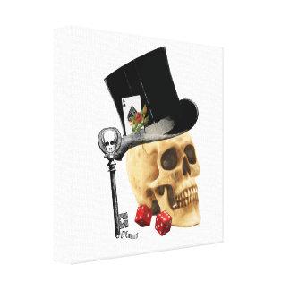 Gothic gambler skull tattoo design canvas print