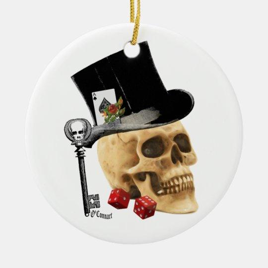 Gothic gambler skull tattoo design ceramic ornament
