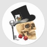 Gothic gambler skull tattoo design classic round sticker