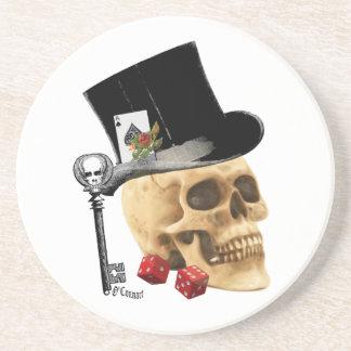 Gothic gambler skull tattoo design beverage coaster