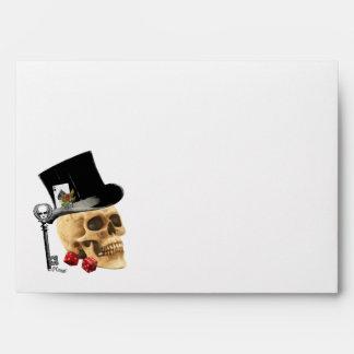 Gothic gambler skull tattoo design envelope