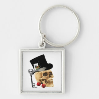 Gothic gambler skull tattoo design Silver-Colored square keychain