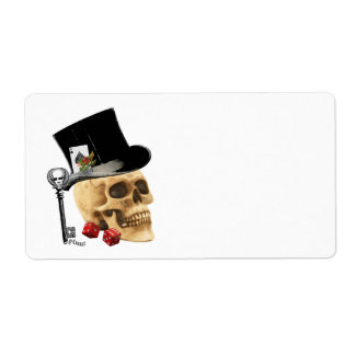 Gothic gambler skull tattoo design label