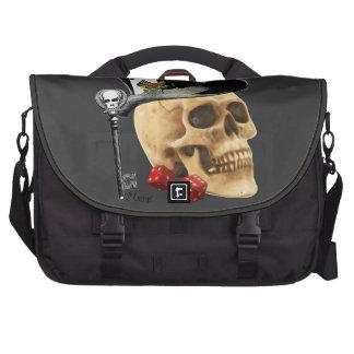 Gothic gambler skull tattoo design laptop bag