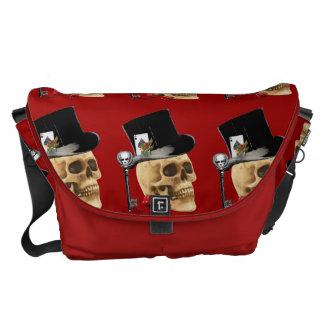 Gothic gambler skull tattoo design courier bag