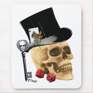 Gothic gambler skull tattoo design mousepads