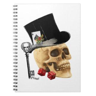 Gothic gambler skull tattoo design notebook