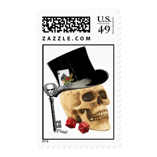 Gothic gambler skull tattoo design postage stamp