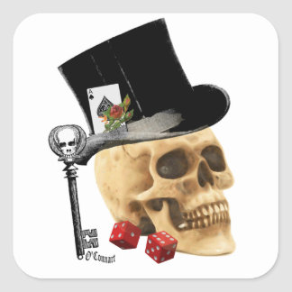 Gothic gambler skull tattoo design square sticker