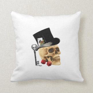 Gothic gambler skull tattoo design throw pillow