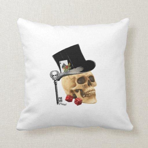 Gothic gambler skull tattoo design throw pillows
