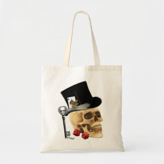 Gothic gambler skull tattoo design tote bag