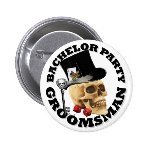 Gothic gambling skull bachelor party button