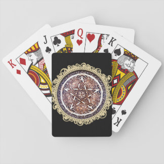 Gothic Gate Pentacle Playing Cards - Black