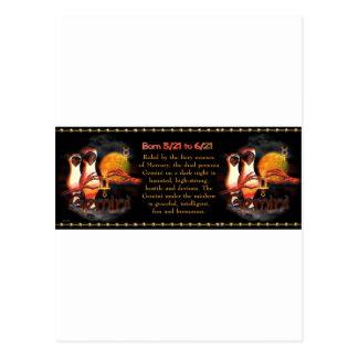 Gothic  Gemini zodiac astrology by Valxart.com Postcard