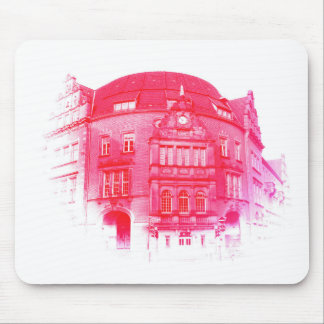 gothic german building digital effect red tint mouse pad