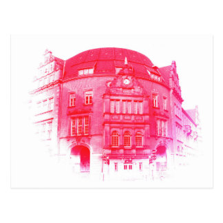 gothic german building digital effect red tint postcard
