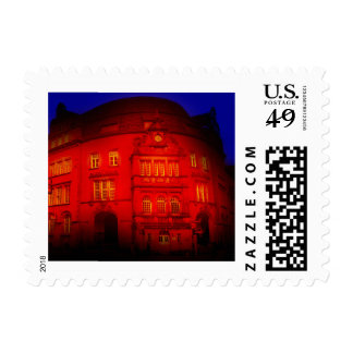 gothic german building mystic view red postage