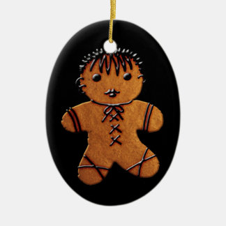 Gothic Gingerbread Cookie Double-Sided Oval Ceramic Christmas Ornament