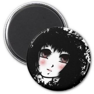 Gothic girl 2 inch round magnet