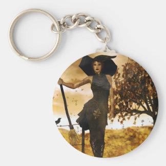 Gothic Girl Autumn Witch Keychain