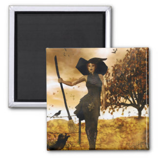 Gothic Girl Autumn Witch Magnet
