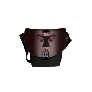 Gothic Girl Butterfly Courier Bag