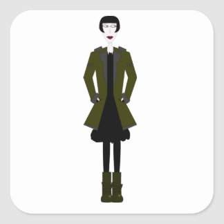 Gothic Girl Character Square Sticker