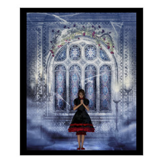 Gothic girl in a Cathedral Poster